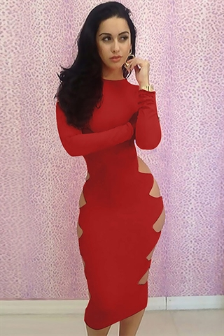 BodyCon - Red Hole Dress
